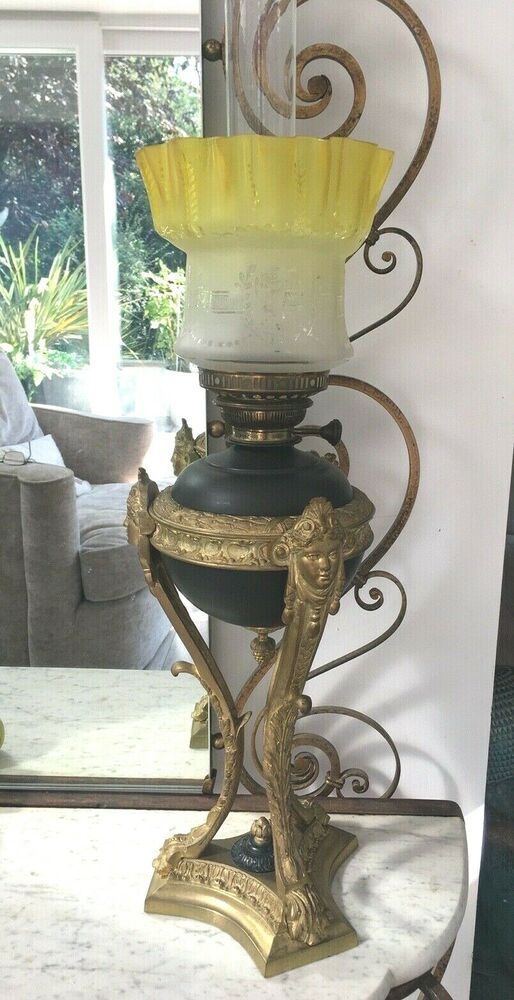 Antique Large Empire Side Draft Gilded Black Oil Lamp Masks Yellow Etched Shade Victorian Oil Lamps Black Oil Lamp