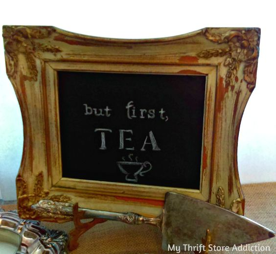 Repurpose a vintage frame to create a gorgeous chalkboard tray! ...tutorial