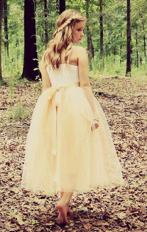 Junior bridesmaid tulle dress with lace collar by for Wedding dresses for tweens