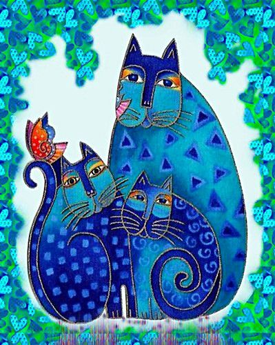 Laurel Burch,gatos indigos, pintar totalmente el fondo