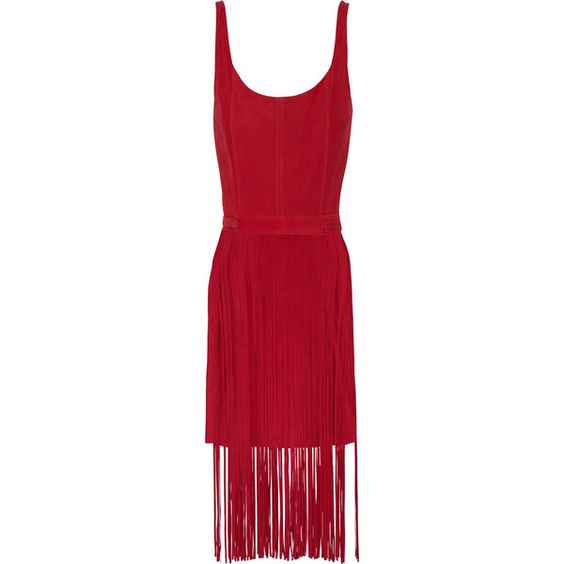 Tamara Mellon - Fringed Suede Dress ($763) ❤ liked on Polyvore featuring dresses, crimson, red fringe dress, crimson red dress, red suede dress, crimson dress and red dress