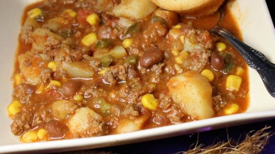 This Is A Pretty Simple Stew Recipe Using Ground Beef Potatoes Corn And Ranch Style Beans Simmering I Stew Recipes Easy Stew Recipes Beef Recipes For Dinner
