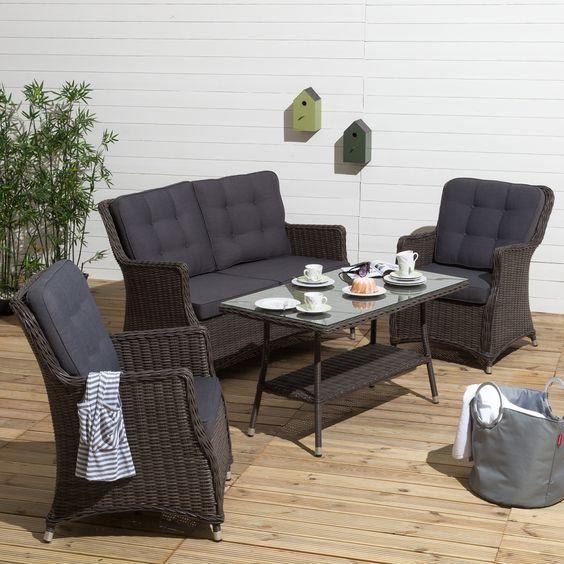 Tuinmeubelen - Glazen tafel gesmeed ijzer en stoelen ...