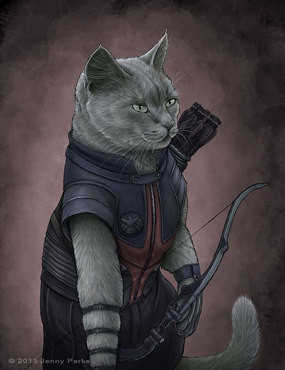 The Avengers as cats by Jenny Parks - Hawkeye
