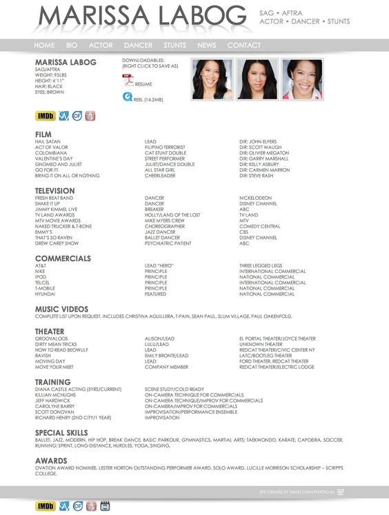 ballet dancer resume