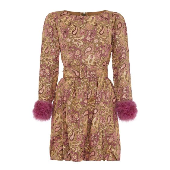 1960s Jean Varon Pink Dress With Fur Cuffs | From a collection of rare vintage evening dresses at https://www.1stdibs.com/fashion/clothing/evening-dresses/
