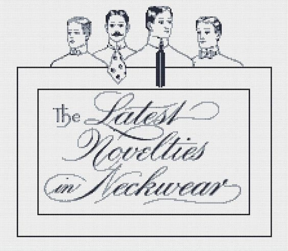 Menswear Advert Cross Stitch Pattern, Vintage Typography Instant Download Counted Cross Stitch Chart, PDF Digital Download