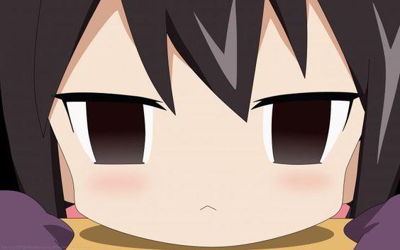 brunettes chibi brown eyes blush anime A-Channel anime girls faces black hair Ichii Tooru wallpaper background