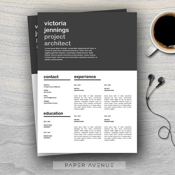 Creative Resume Template and Cover Letter Template for Word 2 Page