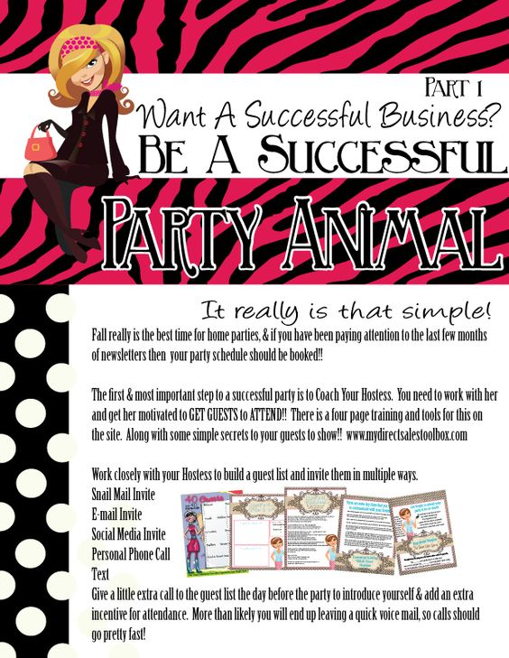 How to be a successful Home party animal 16 pages with 2 goal setting assignments