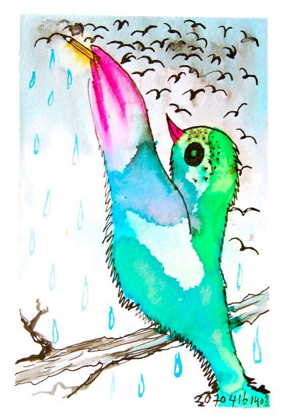 Vogel tekening vogels tekenen originele inkttekening door BIRDADAY