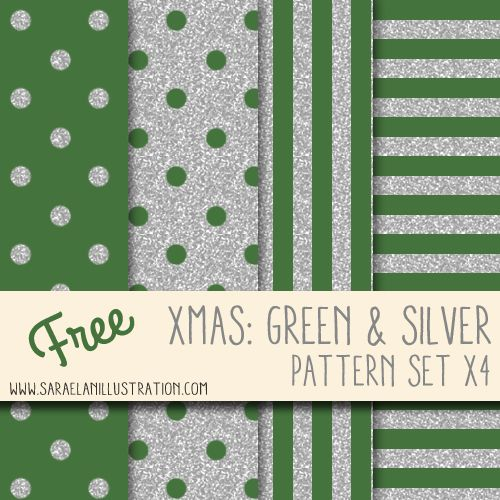 Xmas green and silver glitter pattern set with polka dots and stripes - Pattern di Natale: pois e strisce verdi e argento by Saraelan Illustration