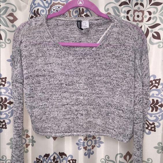 Long sleeve grey crop top sweater Long sleeve grey crop top sweater w/cut out in the back H&M Sweaters