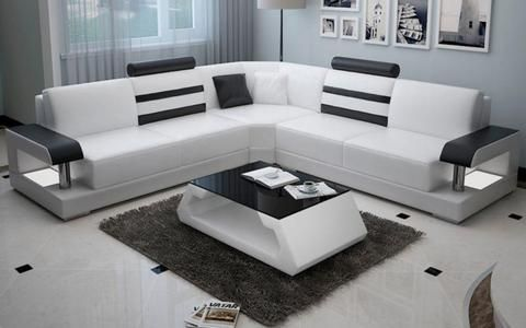 Silviano Modern L Shaped Leather Sofa Living Room Sofa Design