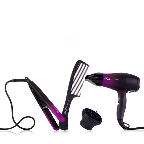 401512 Ego Trip Brights Edition Hairdryer & Straightener Set QVC PRICE: £39.50 + P&P: £5.95 in 3 colour options The Trip Brights Edition haircare set from Ego comprises the Little Ego Hairdryer with two nozzles, Little Ego Straightener and a hairdressers comb. Lightweight and compact, this set will be ready to go whenever you reach your destination and make a great at-home back-up for those dreaded hair emergencies.