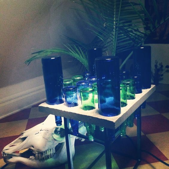 2 Tiered side/coffee table handmade from recycled bottles and concrete