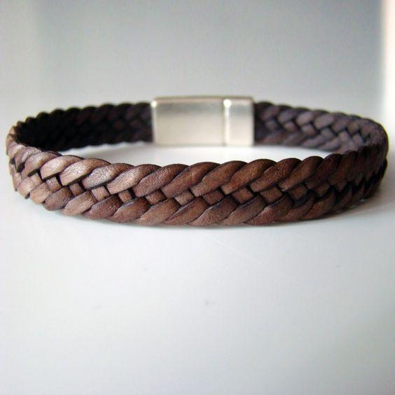 bracelet de cuir dandy sweet tress six brins couleur marron antique fermoir. Black Bedroom Furniture Sets. Home Design Ideas