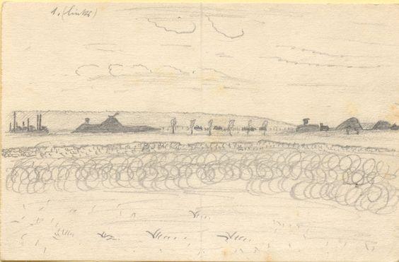 Bleistiftzeichnung, ohne Datierung: Landschaft mit Stacheldrahtzaun im Vordergrund und Wallanlagen im Hintergrund. Bestand 192-31, Nr. 23.