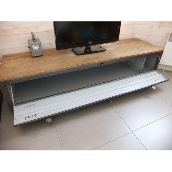 meuble-tv-industriel-casier-metal-restaure  casier métal ...