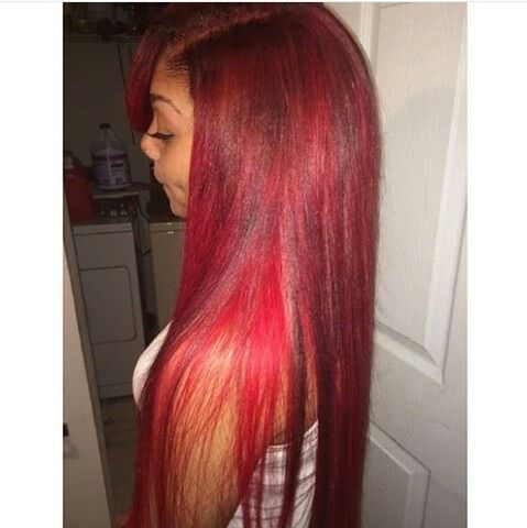 Red hair extensions sew in celebrity