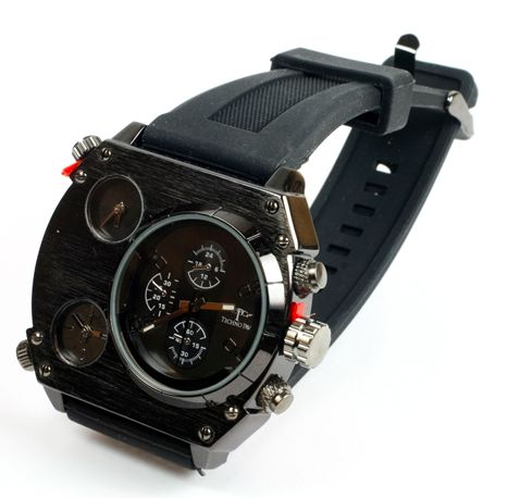 Black Silicone Banded Watch