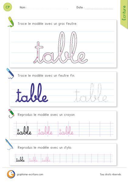 les gestes pour crire le mot table avec les minuscules cursives faire une boucle tr cie qui. Black Bedroom Furniture Sets. Home Design Ideas