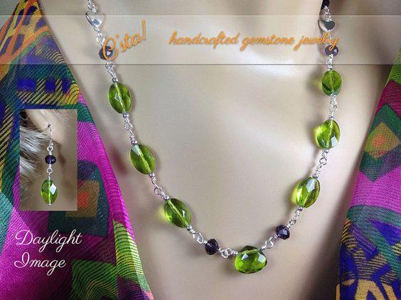 Peridot Amethyst Sterling Silver Necklace & Earrings, Jewelry Set