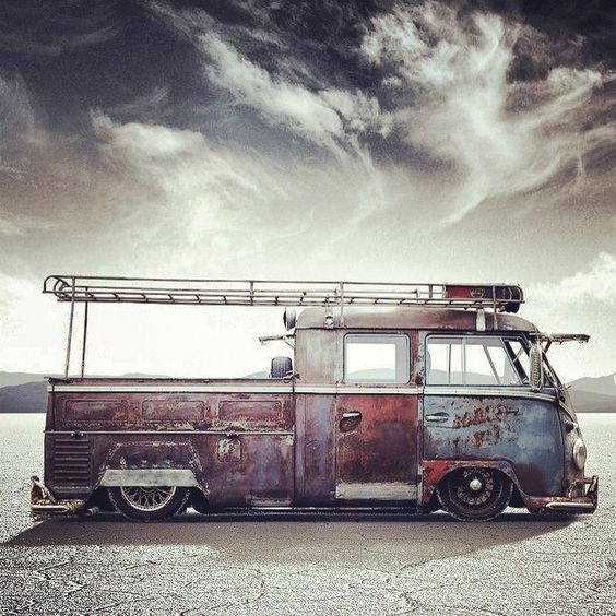 low-slung VW doka work van with LOTS of patina
