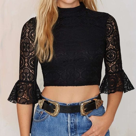 Lace crop top A lace crop top by Nasty Gal featuring adorable bell sleeves. So cute! Nasty Gal Tops Crop Tops