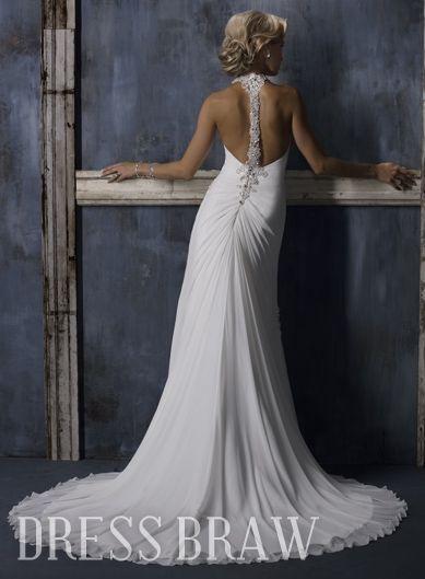 Unique Trumpet/Mermaid Halter Embroidery Wedding Dresses : Dressbraw.com
