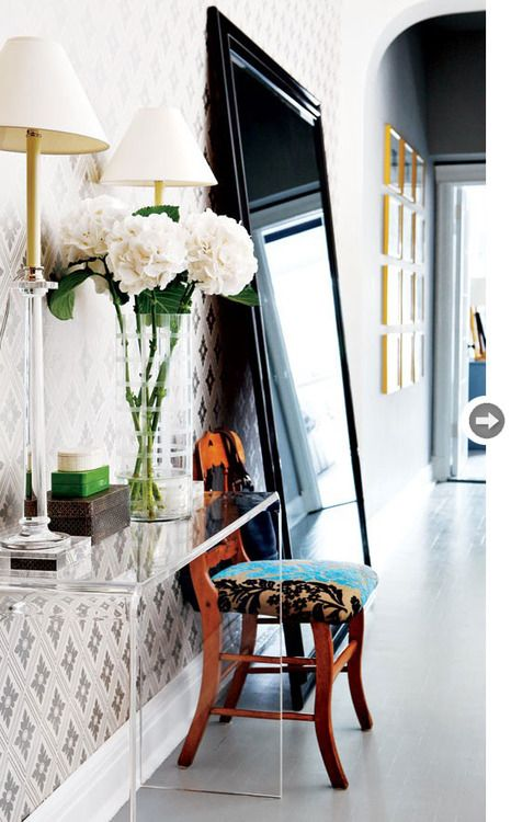 Entry: Entry Table, Big Mirror, Console Table, Large Mirror, Clear Table, Lucite Table, Entryway