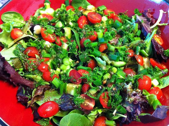 Simple fresh salad with ginger dill dressing