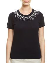 Iris Bead Knit Tee, NAVY