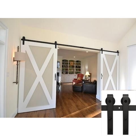 Custom Size Sliding Door Black Hardware 8ft 9ft 10ft 12ft 14ft 16ft 18ft In 2020 Barn Door Designs Barn Door Door Design