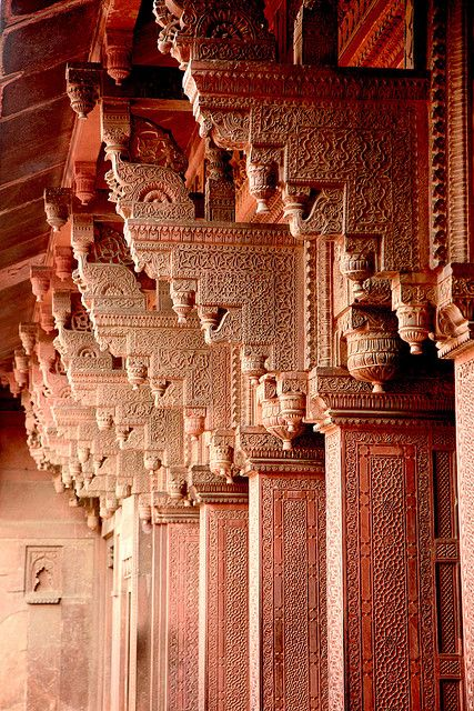 Beautiful columns at The Red Fort, India  ~Repinned Via Aini Arif