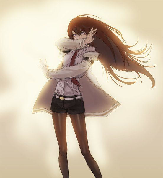 Anime picture 850x924 with steins;gate makise kurisu kitunen (artist) long hair single tall image looking at viewer breasts brown hair purple eyes fringe standing knees girl shirt necktie shorts belt white shirt short shorts