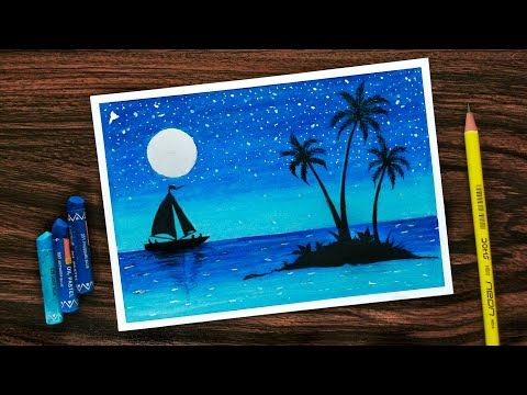 How To Draw Scenery Of Moonlight With Oil Pastel Step By Step Youtube Oil Pastel Colours Oil Pastel Art Oil Pastel Paintings