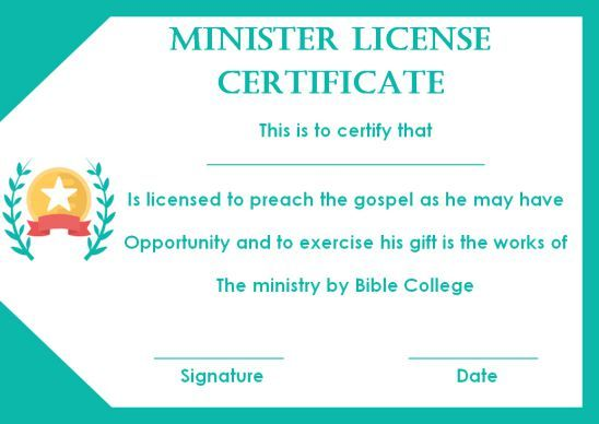 Pin On Minister License Certificate Template