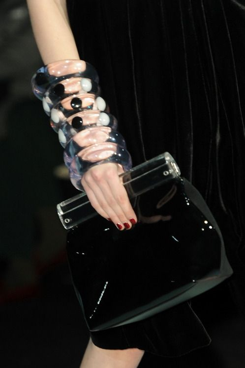Perspex clutches and matching bangles make an appearance at #Emporio armani #AW14 #MFW