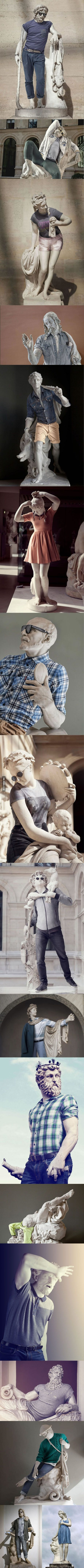 Ancient Greek sculptures dressed up in hipster clothing.