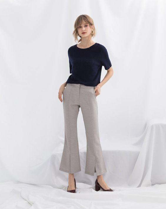 高質感羊毛圓領短袖針織上衣|女裝|MEIER.Q