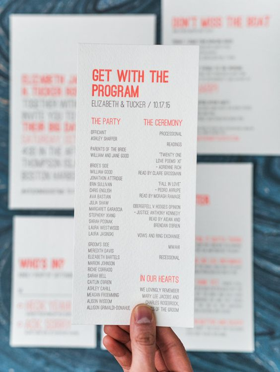 Modern Neon Wedding Paper Suite - with cheeky wording and bold typography. Love the response card and the menu! By Smudge Ink.