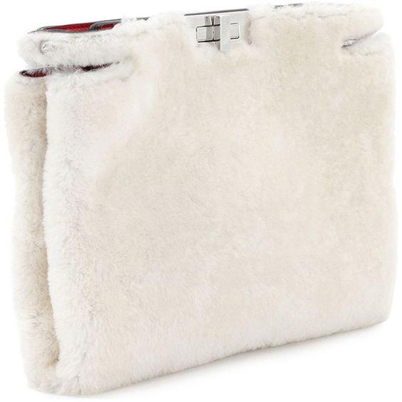 Fendi Peekaboo Shearling Fur Clutch Bag (3,830 BAM) ❤ liked on Polyvore featuring bags, handbags, clutches, shearling purses, white clutches, fur handbags, fendi clutches and fendi purses