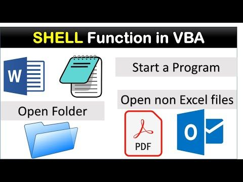 Shell Function In Vba Open Pdf File Using Vba Youtube In 2021 Excel Shortcuts Excel Function