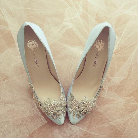 Something Blue Vine Crystal Applique Silver Beading Embellished Satin Bridal Wedding Shoes, Bella Belle DAWN