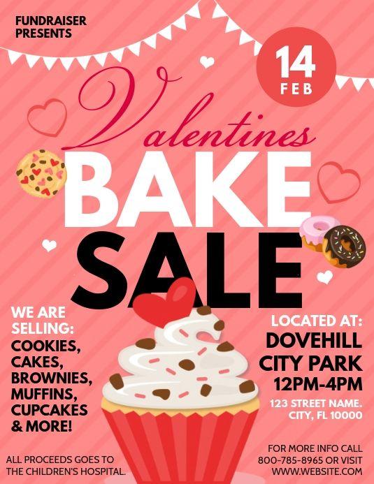 Valentines Bake Sale Bake Sale Flyer Bake Sale Baking