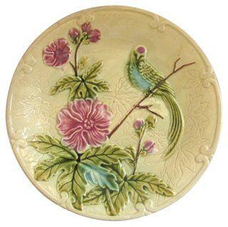 French Majolica Parakeet Wall Plate
