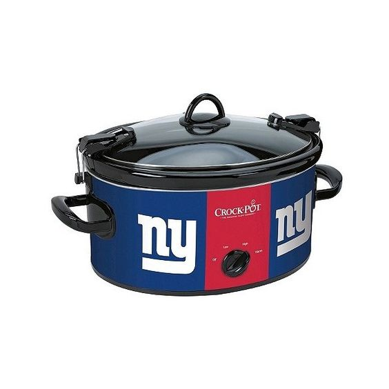New York Giants NFL Crock-Pot Cook & Carry Slow Cooker,... ($40) ❤ liked on Polyvore featuring home, kitchen & dining, blue, crock pot stoneware and blue stoneware