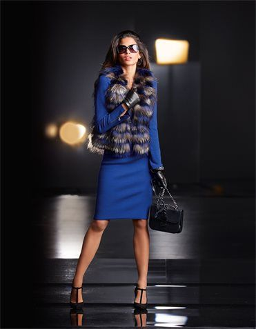 Leather waistcoat with fur, Sunglasses, Gloves, Heels, Shoulder bag, Knitted skirt, Knitted blazer