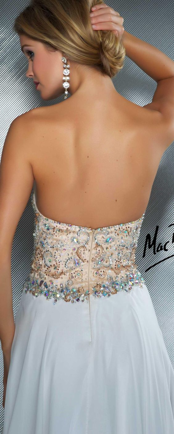 Mac Duggal couture dress ivory / nude #strapless #long #formal #dress MAC DUGGAL PROM STYLE 81838M BACK